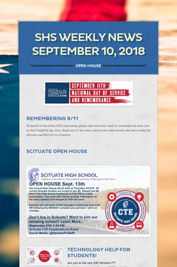SHS Weekly News September 10, 2018
