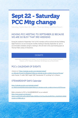 Sept 22 - Saturday PCC Mtg change