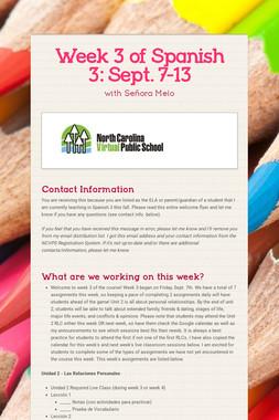 Week 3 of Spanish 3:  Sept. 7-13