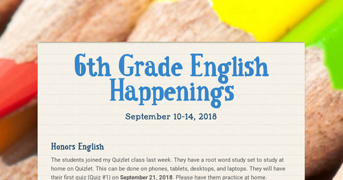 6th Grade English Happenings   Smore Newsletters for Education