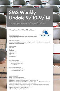SMS Weekly Update 9/10-9/14