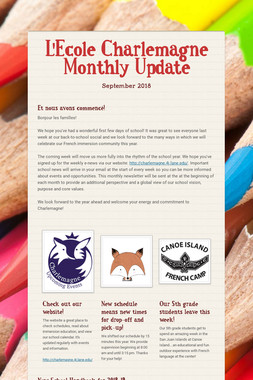 L'Ecole Charlemagne Monthly Update