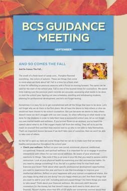 BCS Guidance Meeting