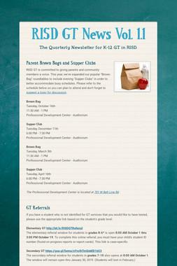 RISD GT News Vol. 1.1
