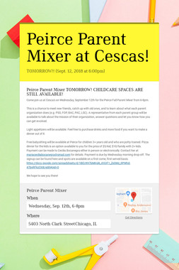 Peirce Parent Mixer at Cescas!