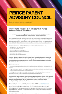 PEIRCE PARENT ADVISORY COUNCIL