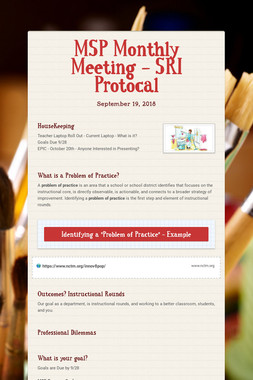 MSP Monthly Meeting - SRI Protocal