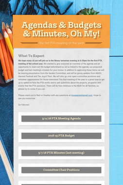 Agendas & Budgets & Minutes, Oh My!