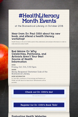 #HealthLiteracy Month Events