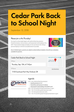 Cedar Park Back to School Night