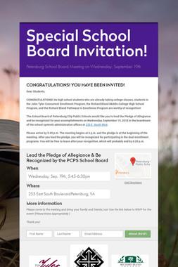 Special School Board Invitation!