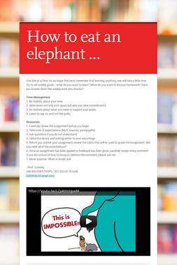 How to eat an elephant ...