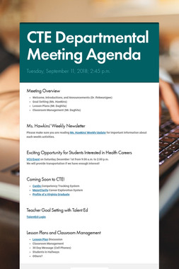 CTE Departmental Meeting Agenda