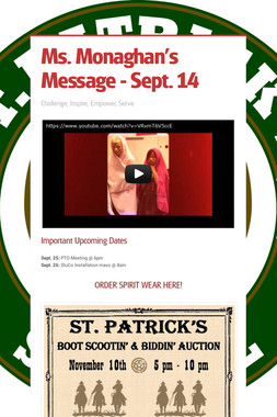 Ms. Monaghan's Message - Sept. 14