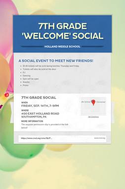 7th Grade 'WELCOME' Social