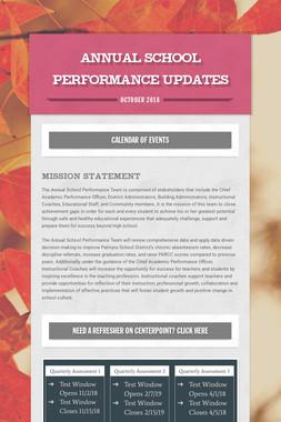 Annual School Performance Updates