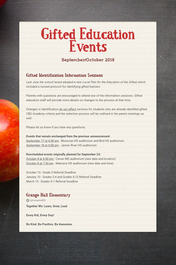 Gifted Education Events