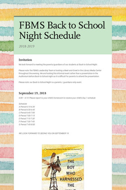 FBMS Back to School Night Schedule