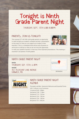 Tonight is Ninth Grade Parent Night