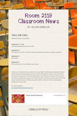 Room 2119 Classroom News