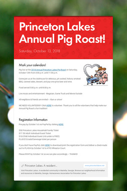 Princeton Lakes Annual Pig Roast!