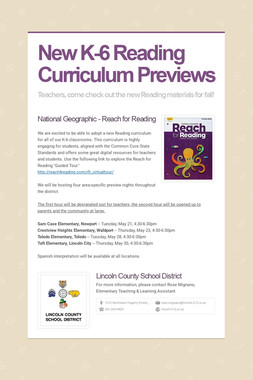 New K-6 Reading Curriculum Previews
