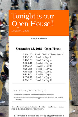 Tonight is our Open House!!