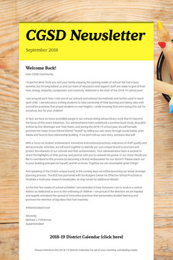 CGSD Newsletter