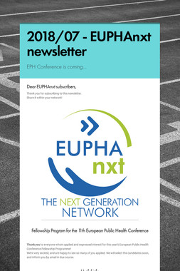 2018/07 - EUPHAnxt newsletter