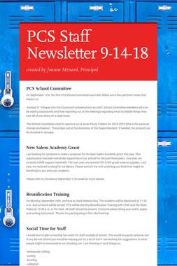 PCS Staff Newsletter 9-14-18