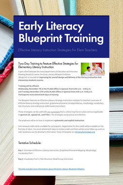 Early Literacy Blueprint Training