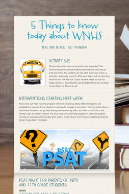 5 Things to know today about WNHS