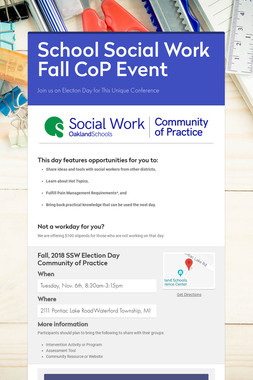 School Social Work Fall CoP Event