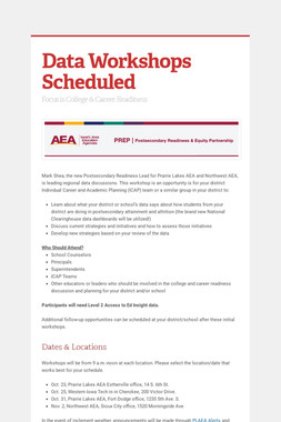 Data Workshops Scheduled
