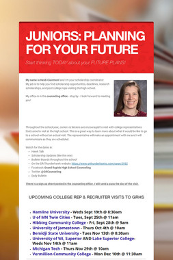JUNIORS: PLANNING FOR YOUR FUTURE