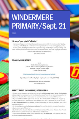 WINDERMERE PRIMARY/Sept. 21