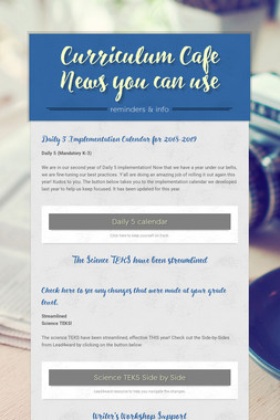 Curriculum Cafe News you can use