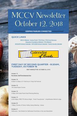 MCCV Newsletter October 12, 2018