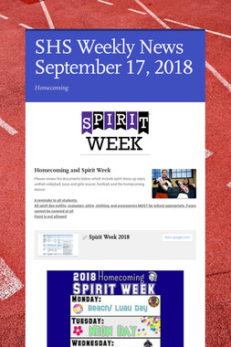 SHS Weekly News September 17, 2018