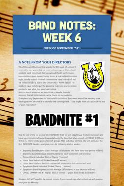 Band Notes: Week 6