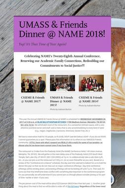 UMASS & Friends Dinner @ NAME 2018!
