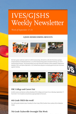 IVES/GJSHS Weekly Newsletter