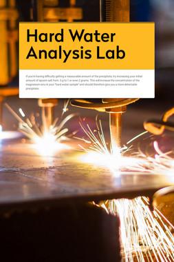 Hard Water Analysis Lab