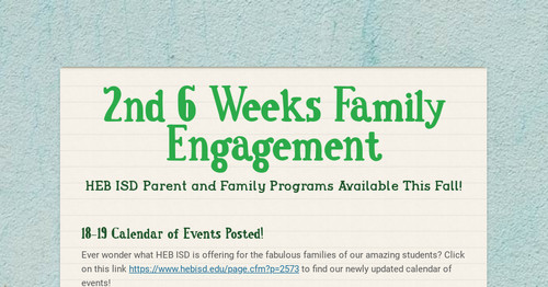Heb Isd Calendar.2nd 6 Weeks Family Engagement Smore Newsletters For Education