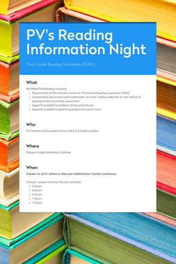 PV's Reading Information Night