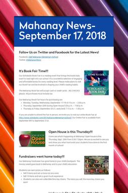 Mahanay News- September 17, 2018