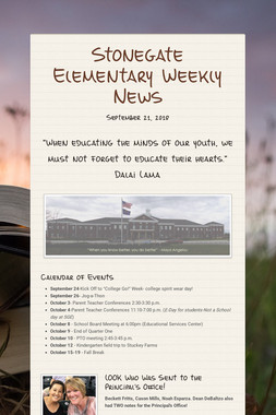 Stonegate Elementary Weekly News