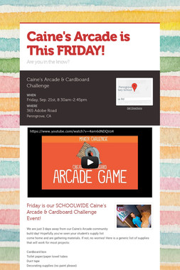 Caine's Arcade is This FRIDAY!