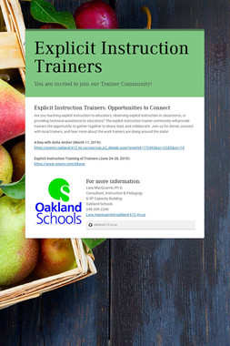 Explicit Instruction Trainers