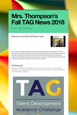 Mrs. Thompson's Fall TAG News 2018